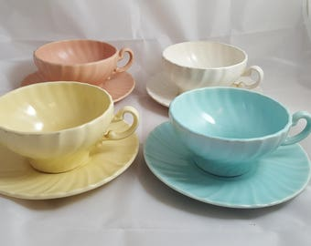 4 Franciscan Coronado Multicolor Cups & Saucers