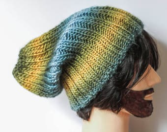 Green and yellow Slouch Beanie Hat