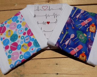 Set of 3 Nurse/Medical Burp Cloths - Baby Shower Gift