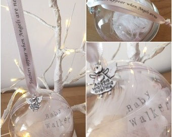 Remembrance hand stamped feather hanging bauble. Memorial item perfect for a remembrance garden