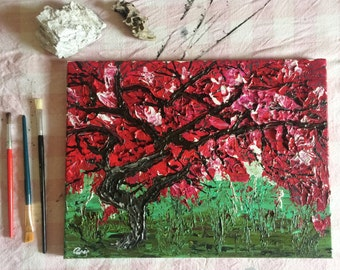 acrylic painting, modern, charity, contemporary art, surreal tree, textured painting