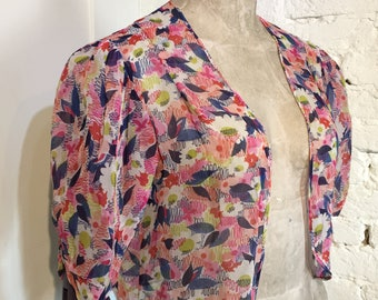 Vintage 1930s Chiffon Crepe Floral Bolero Jacket