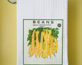 Waffle Weave Vintage Seed Packet  - Yellow French Beans Dish Towel | Free Shipping | Housewarming Gift | Shower Gift | Wedding Gift