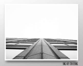 architecture // b+w // monochrome  // wall art // home decor // photography print // building  // vanishing point - Look Up art print