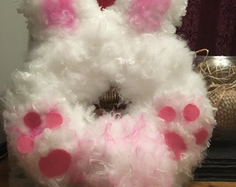 Easter White and pink rabbit wreath