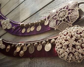 Custom Made Tribal Fusion Velvet Belt-Sparkling Style-