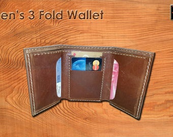 Men's Leather Trifold Wallet, Men's Leather Trifold Wallet, Handmade Trfiold Leather Wallet