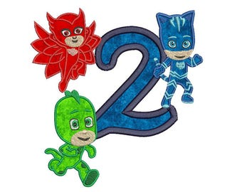 Pj Masks 2nd Birthday Applique Design Instant Download 3 sizes