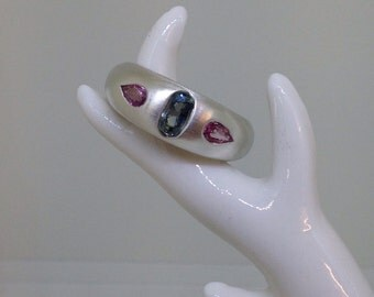 Sapphire ring, Silver ring, sterling silver ring, sapphire ring, blue sapphire ring, pink sapphire ring,