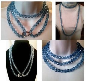 Long Blue Faceted Beaded Bead Necklace, Bead Necklace Wife, Statement Necklace Wife, Boho Jewelry, Jewelry Ideas Wife, Faceted Bead Necklace