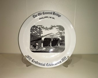 Carr China Co Old Covered Bridge Centennial Celebration Plate 1952