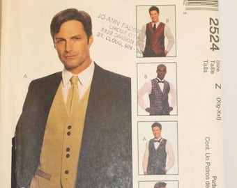 McCalls Men's Vest and Tie Pattern XL-XXL