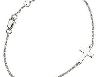 Drea Morozi - Silver Side Cross Bracelet