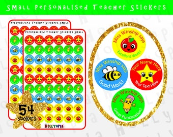 54 Personalised Teacher Stickers, Reward Stickers, School Stickers, New Teacher Gift Idea UK PERSONALISED