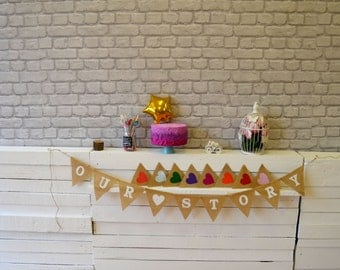 Our Story Hessian Burlap Wedding Celebration Engagement Party Banner Bunting Decoration colorful hearts black white text