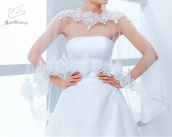 Bridal cape tulle with lace