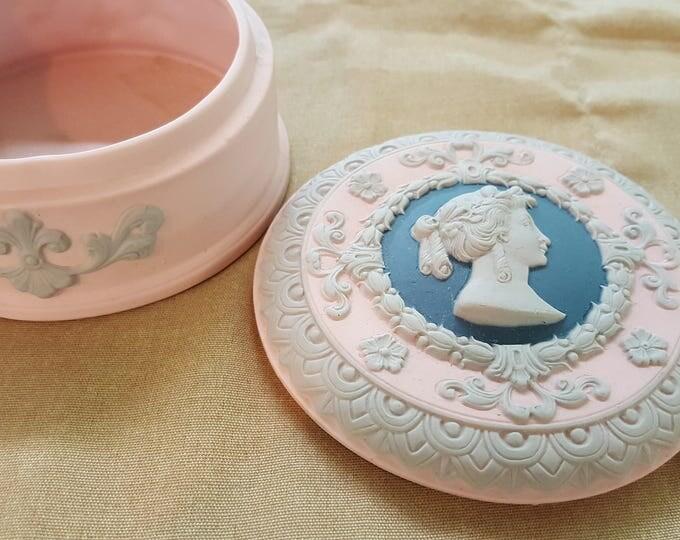 On sale - Antique Cameo Dresser Powder Jar Germany 1910-20 Schafer & Vater Jasperware