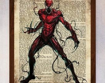 Carnage poster, Carnage wall art, Vintage dictionary print, Superhero Wall Art, Marvel Hero, Book Page Print, Dictionary Print