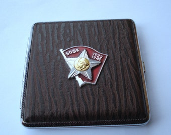 Vintage Bown Leather Double Sided Cigarette Case with Soviet Star, USSR , Gift for Him, Leather Cover, Luxury Gift,UNUSED