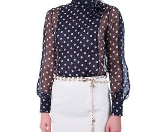 Shirt in silk georgette, handmade PIECE size (it 42, eu 38, uk 10, us 6) PROMOTIONAL PRICE