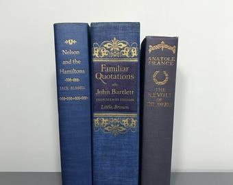 Antique book set, old books, blue books, gold books, book stack, large book set, home decor, vintage books, antique books