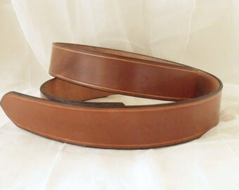 Light brown leather belt 4 cm