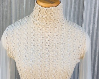 Bohemian crocheted lace blouse 1970 - Knit top with chiffon sleeves hippie style chic