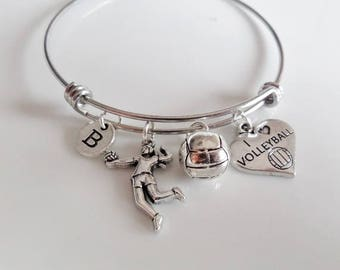 Voleyball Bangle, I love volleyball, Volleyball bracelet, Volleyball player, Volleyball Mom Gifts, Volleyball Team Personalized jewelry