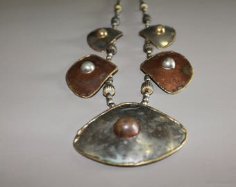 Vintage Mixed Metals Copper Silver Brass Chunky Necklace With Raised Brass And Copper Domes