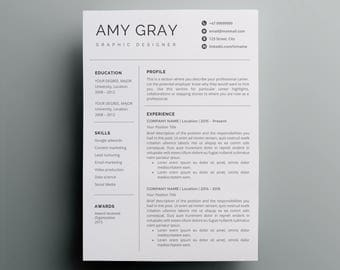 Resume Template Instant Download | CV Template + Cover Letter | DIY  Printable | Professional And  Resume Template Design