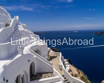 Santorini blue and white photo, Greece, island, travel photography, wanderlust, digital file download, printable art, urban exploration