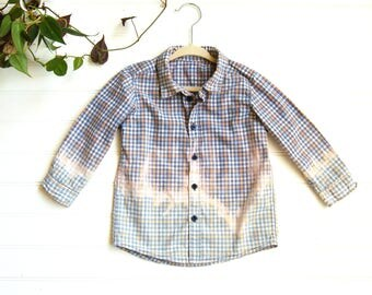 Boho Baby Boy Dip Dyed Checkered Button Up Shirt | Blue & Orange Plaid Hipster Top | Upcycled Baby Clothes | Punk | Little Hippie | 12-18 mo