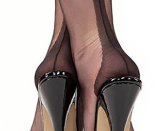Fully Fashioned Seamed Stockings, Nylons, made in England, 1950's original pattern, Black sheer 15 denier sizes 8 1/2 up to size 11