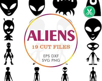 Alien Svg, Alien Silhouette, Alien Clipart, Alien Decal, Ufo, Space Svg, Scrapbooking Die Cuts, Silhouette Cameo Files, Commercial Use Svg
