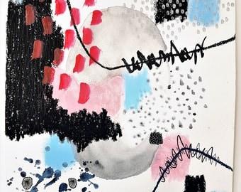 SALE 30 %  OFF / Blowing Bubbles, Modern,abstrakte Kunst,  abstract, original Art, Aquarell,Wandmalerei, Mixed media,wall art, silver, pink
