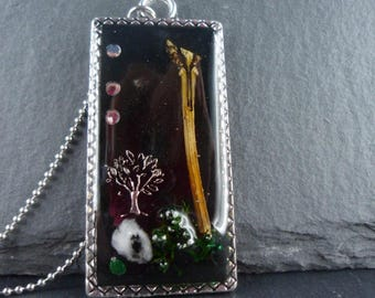 Chain, resin pendant, necklace, hand-poured, life tree, Moss, branch, 09