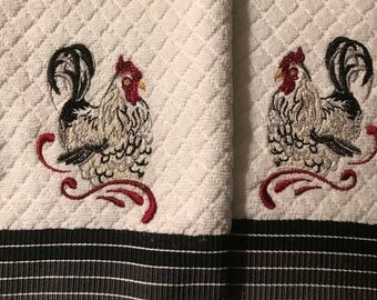 Embroidered  Rooster Kitchen Towels. Set of 2.