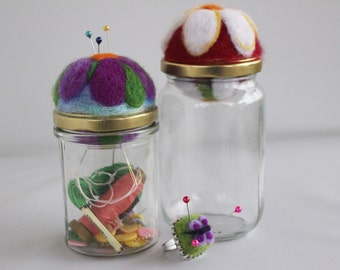 Pair of double felted Pincushion jar decorated with flowers and Butterfly Adjustable ring