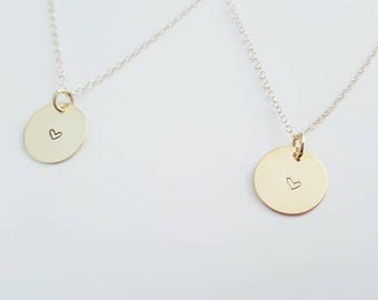 Tiny Heart Hand Stamped Pendant Necklace - Heart Jewelry - Bridesmaids Jewelry - Bridesmaids Gift - Wedding Necklace- Valentine's day
