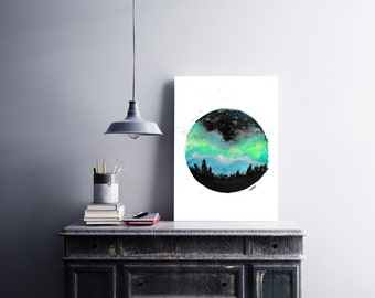 8x11 print, northern lights watercolor, illustration, room decor, aurora borealis, gift, poster