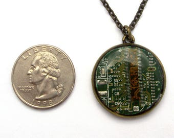 Computer Circuit Board Necklace, circuit board jewelry, geek gift, computer jewelry, steampunk pendant, wearable tech, recycled jewelry