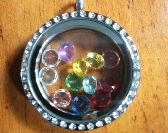 Round Silver 30mm Stainless Steel Memory Locket with Rhinestones and ( 12 ) Multi-Colored Crystals