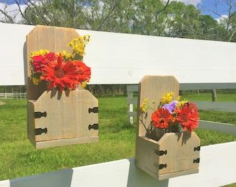 Fence Panel Wall Decor- Wooden Mason Jar Planter - Plant Wall Sconce - Wooden Candle Holder - Wooden Wall Sconce - Fence Panel Wall Sconce