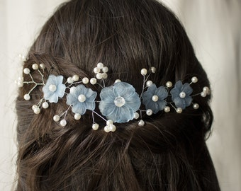 Blue Floral Hair accessory, Blue Hairband, Floral Hairpiece