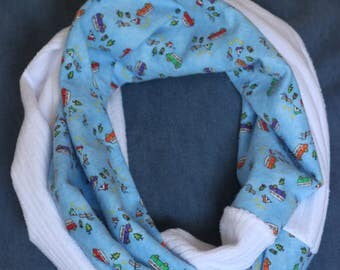 Flannel Minky Infinity Scarf Camping/White