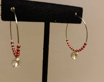 Red Japanese Glass Seed Bead and Czech Glass, Stainless Steel Hoop Earrings with Swarkofski Element