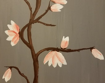 Magnolia Blossoms on Gray Background