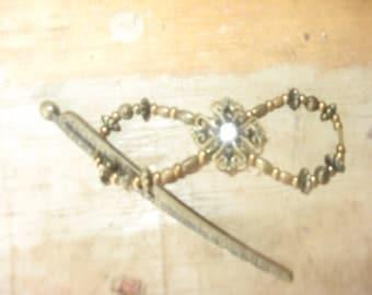 Handmade Bronze Embellished Hairclip/Hairpin