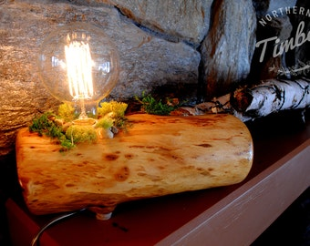 Hand-crafted Rustic Log Lamp (large) // vintage, urban design, industrial, Edison light