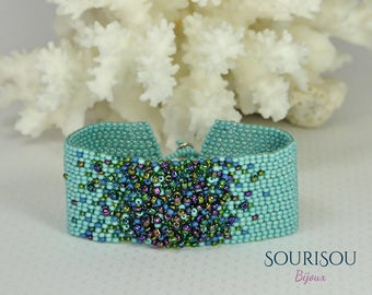 Turquoise/bracelet summer peyote bracelet / bracelet beaded/turquoise beaded bracelet/summer bracelet turquoise/bead embroidery bracelet